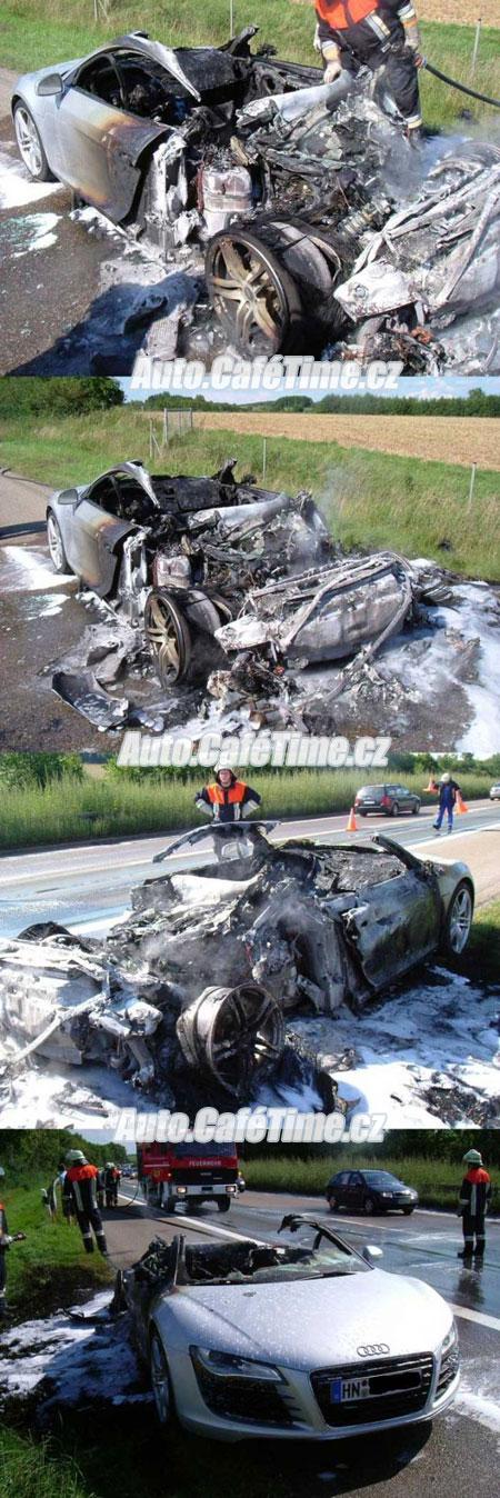 Audi R8 nehoda oheň